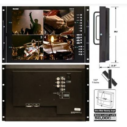 Picture of V-R171P-4A-PAL 17' Rack Mountable LCD Monitor with Quad Splitter & Switcher, PAL format only